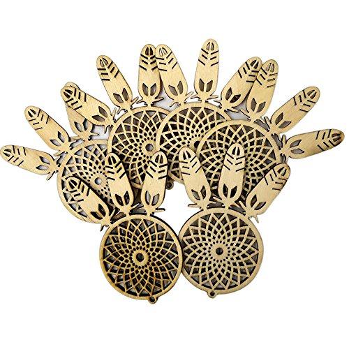 Christmas Hanging Ornaments, Malbaba 10pcs Wooden Christmas Ornaments, Elk, Yellow - Engraved Yellow Brooch