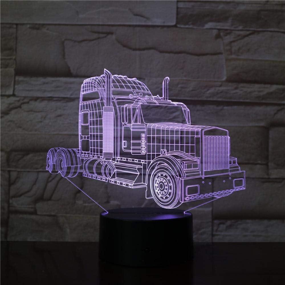 MBFT Lámpara 3D de cabeza de camión alimentada por batería, cambio de color, decoración para habitación fantástica, lámpara de luz nocturna LED 3D animación nocturna