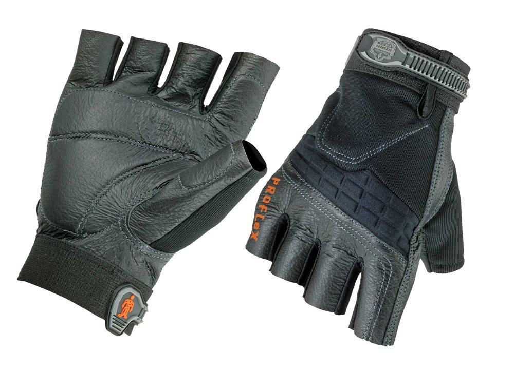 Ergodyne ProFlex 900 Impact-Reducing Half-Fingered Work Gloves, X-Large