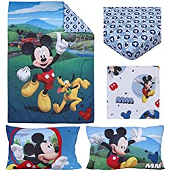 "Disney 4 Piece Toddler Bedding Set, Mickey Mouse Playhouse, Blue/White, Standard Toddler Mattress (52"" x 28"" x 8"")"