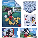 Disney 4 Piece Toddler Bedding Set, Mickey Mouse Playhouse, Blue/White, Standard Toddler Mattress (52'' x 28'' x 8'')