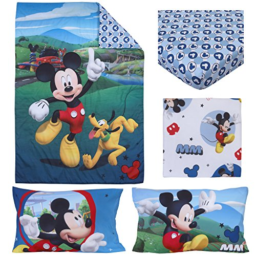 Disney 4 Piece Toddler Bedding Set, Mickey Mouse Playhouse, Blue/White, Standard Toddler Mattress (52
