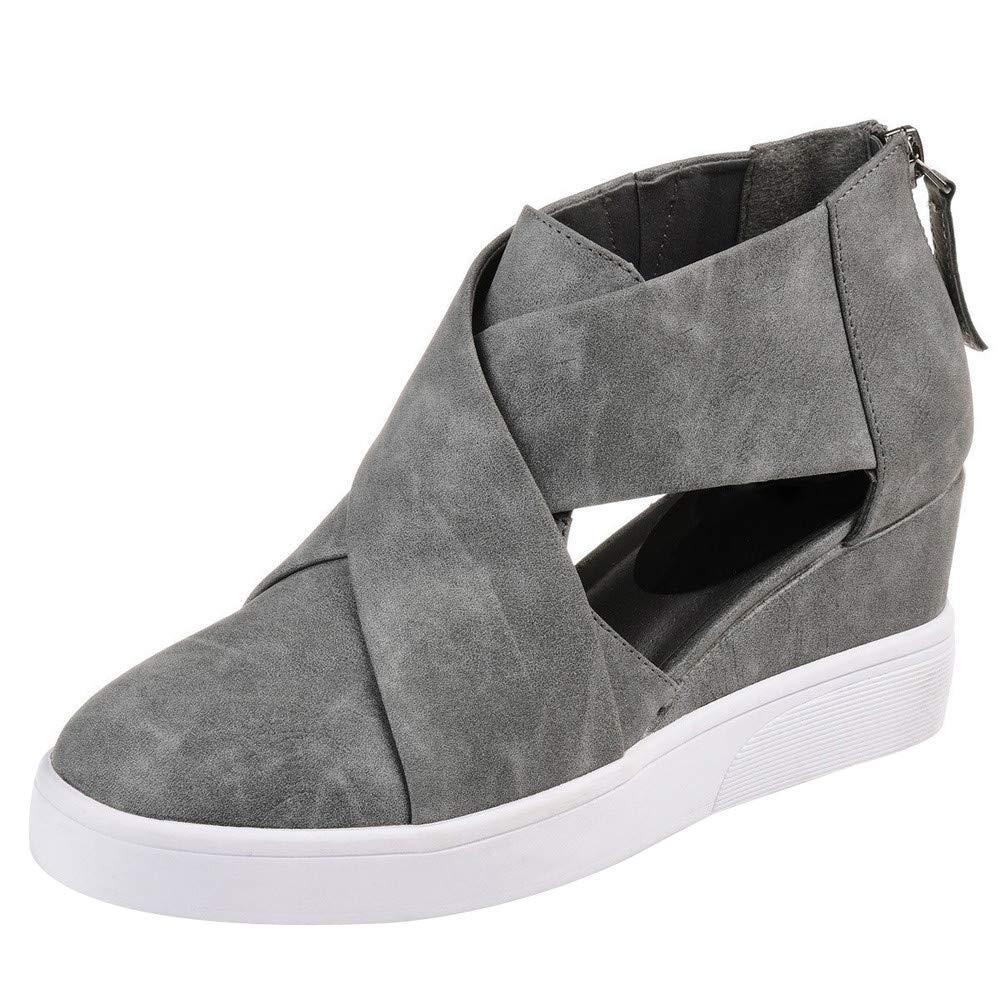 Kauneus  Women's Concise Criss-Cross Cut-Out Wedge Sneakers Comfortable Back Zipper Shoes Gray