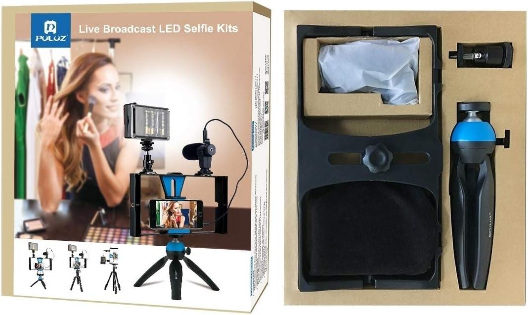 tr/ípode del mont Equipo de v/ídeo en directo tel/éfono inteligente kit de micr/ófono 4 en 1 Kits de aparejo Vlogging Transmisi/ón en vivo del LED Luz selfie tel/éfono inteligente de video con micr/ófono