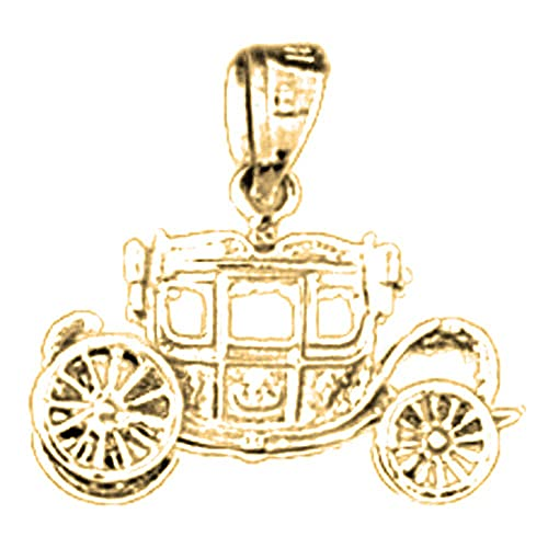 Jewels Obsession Silver Baby Carriage Pendant 14K Yellow Gold-plated 925 Silver Baby Carriage Pendant