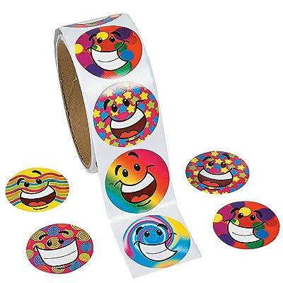 Amaoma Pegatinas Emojis Grandes Colorido Etiqueta Sonrisa Pegatina Etiquetas Smile Redonda Escuela Familia Fiesta de Niños Decoraciones Regalos de Navidad para Niños 1 Rollo de 100 Pegatinas: Hogar
