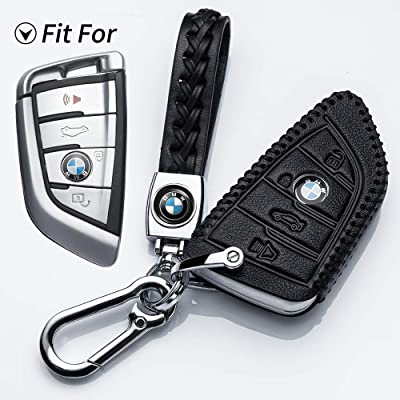 Hey Kaulor for BMW Key Fob Cover, Full Protection Soft Leather Key Fob Case Compatible with BMW X1 X3 X5 X6 and 5 Series 2020 7 Series 2020 up 2 Series and 6 Series (GT) Keyless Entry,Black: Automotive