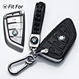 Hey Kaulor for BMW Key Fob Cover, Full Protection Soft Leather Key Fob Case Compatible with BMW BMW 4Button(Black)