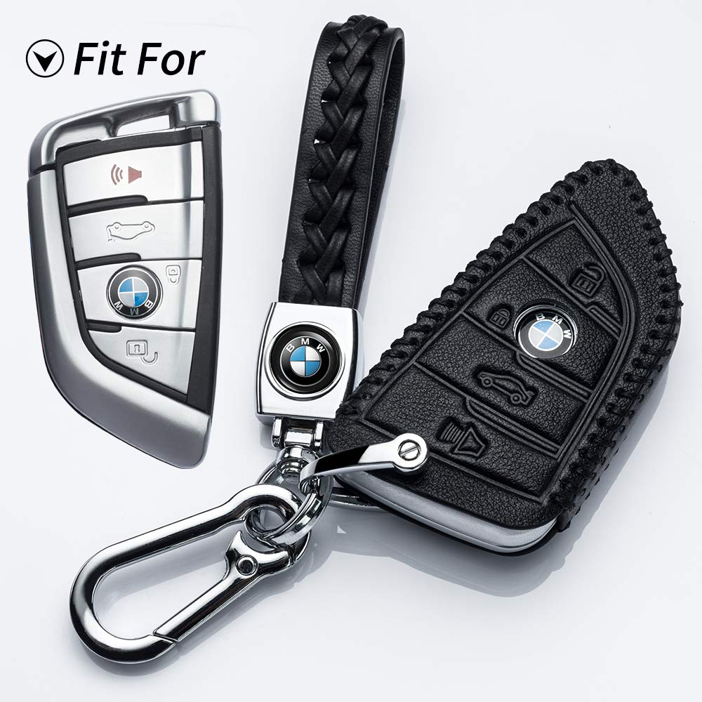 Hey Kaulor for BMW Key Fob Cover, Full Protection Soft Leather Key Fob Case Compatible with BMW X1 X3 X5 X6 and 5 Series 2018 7 Series 2017 up 2 Series and 6 Series (GT) Keyless Entry,Black by Hey Kaulor