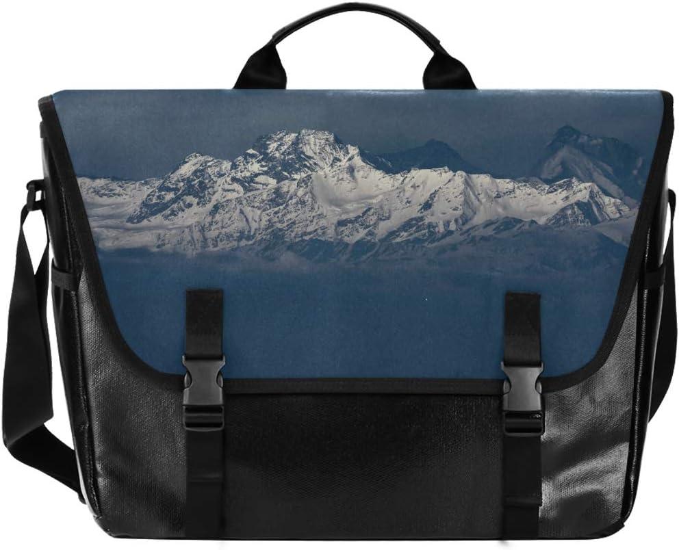 Laptop Computer Shoulder Bag Happy Messenger Bag Snow Mountain Sky for Men Women Student Casual Canvas Satchel Traveling Camping