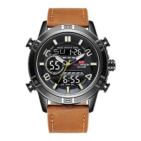 LLSYY Reloj Deportivo para Hombres Reloj Deportivo Resistente Al Agua Reloj Luminoso De Cuarzo, Brown