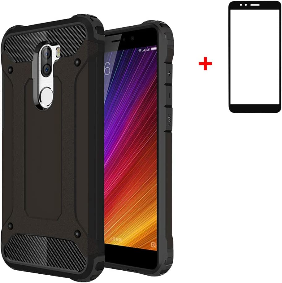 GoodcAcy Compatible para Xiaomi Mi 5S Plus Funda,[Armadura Delgada,Doble Capa] Híbrida de TPU Extraíble 2 en 1 a Prueba de Golpes Robusto y Durable Fashion Ultra-Thin,Negro