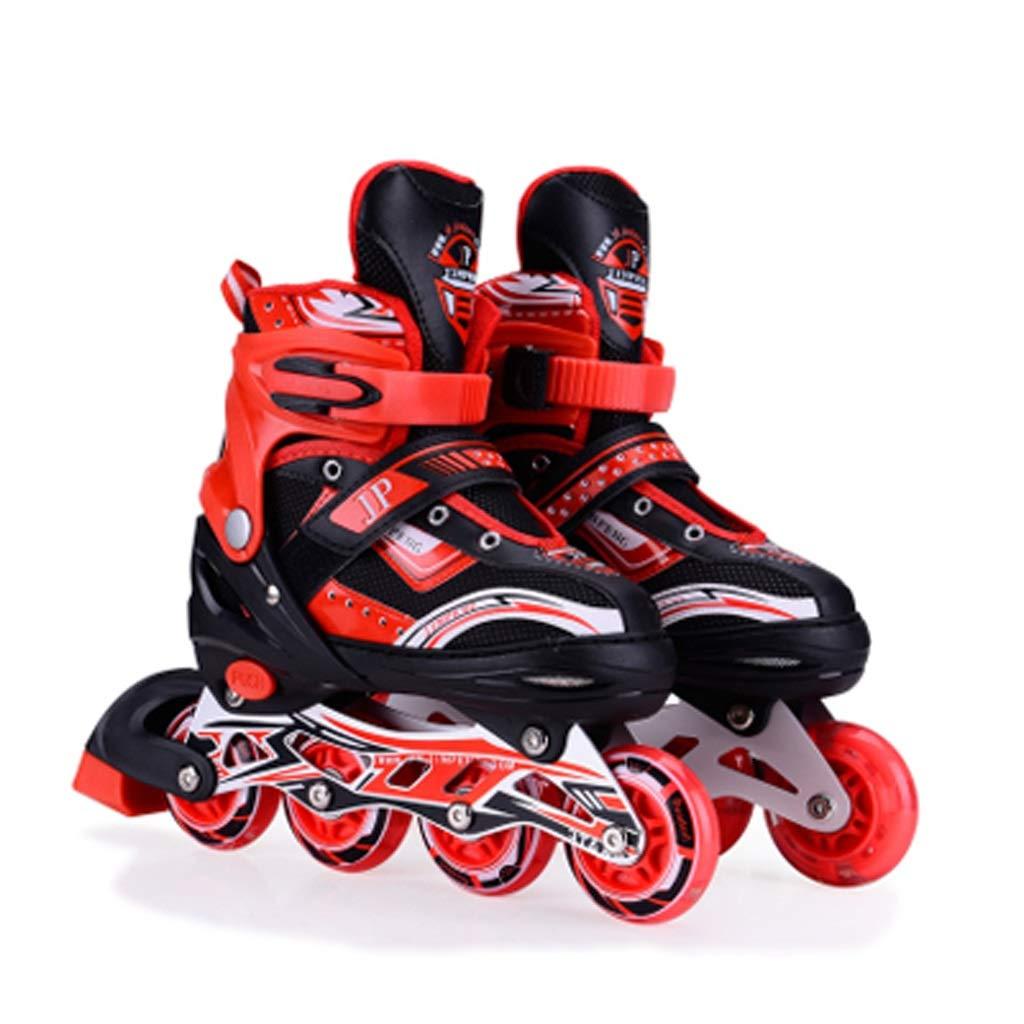 インラインスケート キッズインラインスケート、調節可能な男の子と女の子のローラースケートを点滅させる楽しい、青少年学生プロのローラースケート(赤青) (Color : 赤, Size : L (EU 39-42)) 赤 L (EU 39-42)