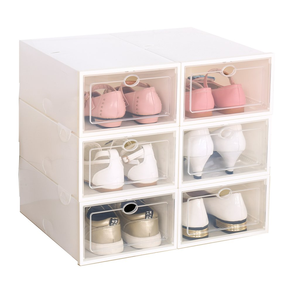ironland Shoe Box, Stackable Plastic Foldable Shoe Storage Organiser with Clear Door Set of 6, White