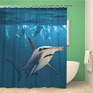 rouihot Bathroom Shower Curtain Hammerhead Shark Near Group of Swimmers Health and Life Polyester Fabric 60x72 inches Waterproof Bath Curtain Set with Hooks