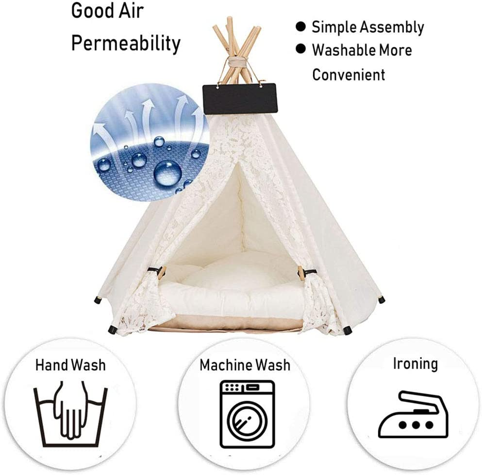 HAPPYX Pet Play Tent with Washable Cushion Canvas Dog Teepee Bed for Small Cats Dogs Rabbits Pets