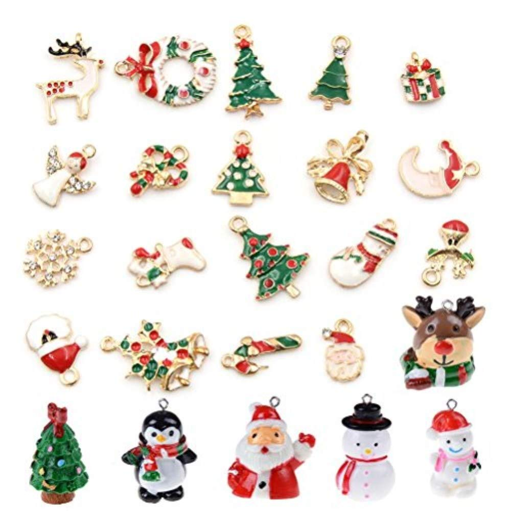 Christmas Pendants Charms for Bracelet Necklace Jewelry Making, Birthday, Christmas Day, Thanksgiving Day Gift for Children, Pack of 25 (Style 1) Chicharming 2Z499H2-48DSJ8
