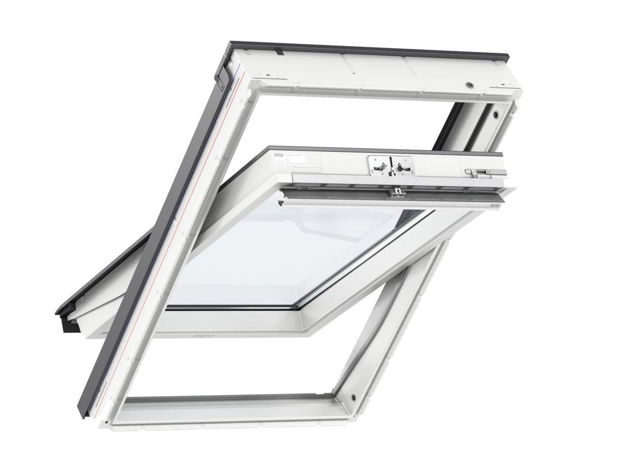 AFG Schweiz Skylight Kunststoff Dachfenster PVC 78 x 118 mit Eindeckrahmen f/ür Dachziegel Au/ßenfarbe Dunkelbraun Schwingfenster Dachfl/ächenfenster