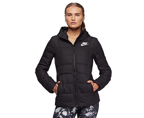b083fb281bf3 Nike Women s Sportswear Down Fill Hooded Jacket Black  Amazon.com.au ...