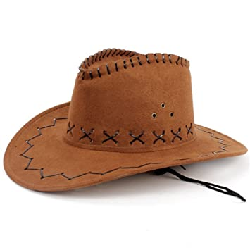 HMILYDYK Cowboy Hat Fancy Dress Accessory Wide Brim Western Cowgirl Hats  Wild West Light Coffee b04374098c9e