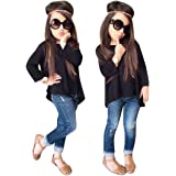 TiTCool Toddler Girls Outfit Fashion Pant Set Clothes T-Shirt Tops+Jeans Pants 2Pcs