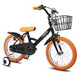 IQOO 子供自転車 3、4、5、6歳 補助輪付き 男の子 女の子 14インチ 16インチ 幼児用自転車 お誕生日プレゼント 可愛い かわいい自転車 カゴ ベル おしゃれ ガール ボーイズ ユニセックス オレンジ ブラック ホワイト