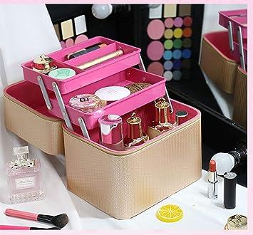 Estuche de maquillaje de múltiples capas PU Beauty Box Bolsas de maquillaje extra grandes para con espejo Mujer Hombre-twoboxes-gold: Amazon.es: Salud y cuidado personal