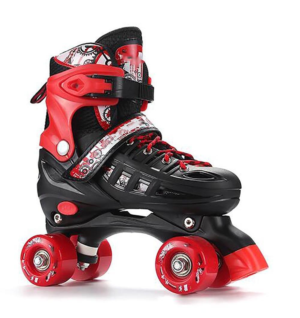 Kid Quad Roller Skates adjustable ABEC -7 , L , red by WY