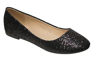 a1020d3f72d Women s Dress Ballet Flat Slip On Comfortable Ballerina Glitter Sparkle Soft  Shoes Black