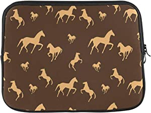 INTERESTPRINT Laptop Carrying Case Cover Brown Horses Pattern Notebook Computer Sleeve Bag 13 Inch 13.3 Inch