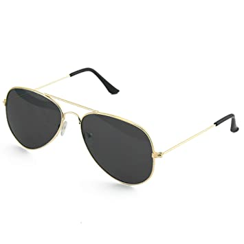 Skeleteen Black Gold Aviator Sunglasses - Military Style Dark Sun Glasses with Gold Metal Frame and UV 400 Protection