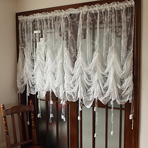 FADFAY Elegant White Lace Embroidered Sheer Ballon Curtains, Adjustable Tie-Up Curtain, 1 Panel Floral Tulle Curtains For (Fancy Balloons)