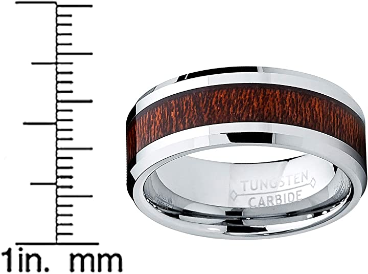 Details about  /Tungsten Carbide Wood Pattern Silver Flat Edge 8MM Men/'s Wedding Ring Band M76