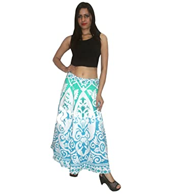 f6a5750c8 Indian Traditional Printed Boho Women Rapron Skirt,Block Printed Cotton  Long Boho Rapron Floral Skirt