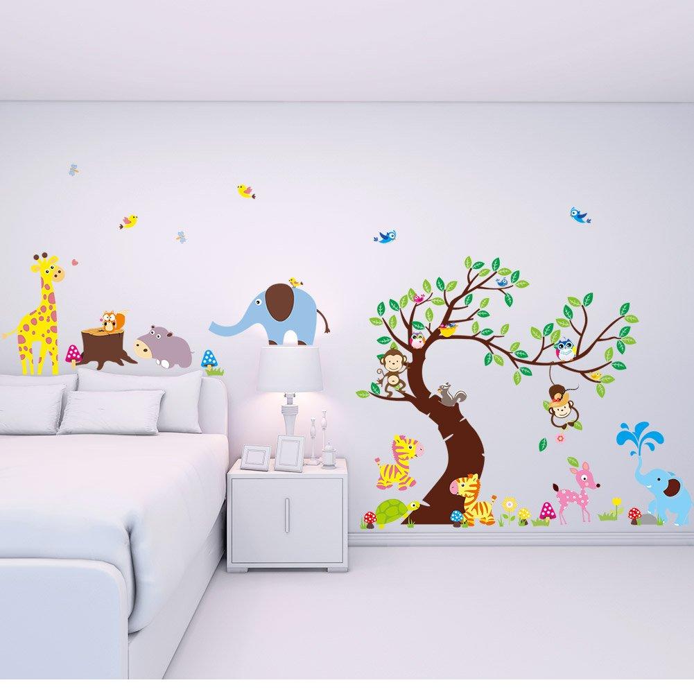 Wandtattoo Wandsticker Kinderzimmer Wald Baum Sticker Aufkleber ...