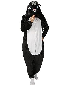 Luojida Pijama Animal Cosplay Disfraz con Capucha Unisex para Adultos Ropa de Dormir Entero Cálido para