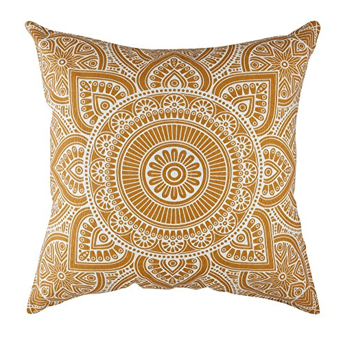 TreeWool 2 Pack Throw Pillow Covers Decorative Mandala Accent Decorative Pillowcases Toss Pillow Cushion Shams Slips Covers for Sofa Couch (24 x 24 Inches, Mustard)