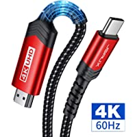 USB C to HDMI 2.0 Cable 10ft, JSAUX 4K@60Hz Type C to HDMI Cord(Thunderbolt 3 Compatible) for MacBook Pro 2018 2017 Air iPad Pro, Samsung Galaxy S20 Note 10 S10 Plus, Dell XPS 13, Surface Book-Red