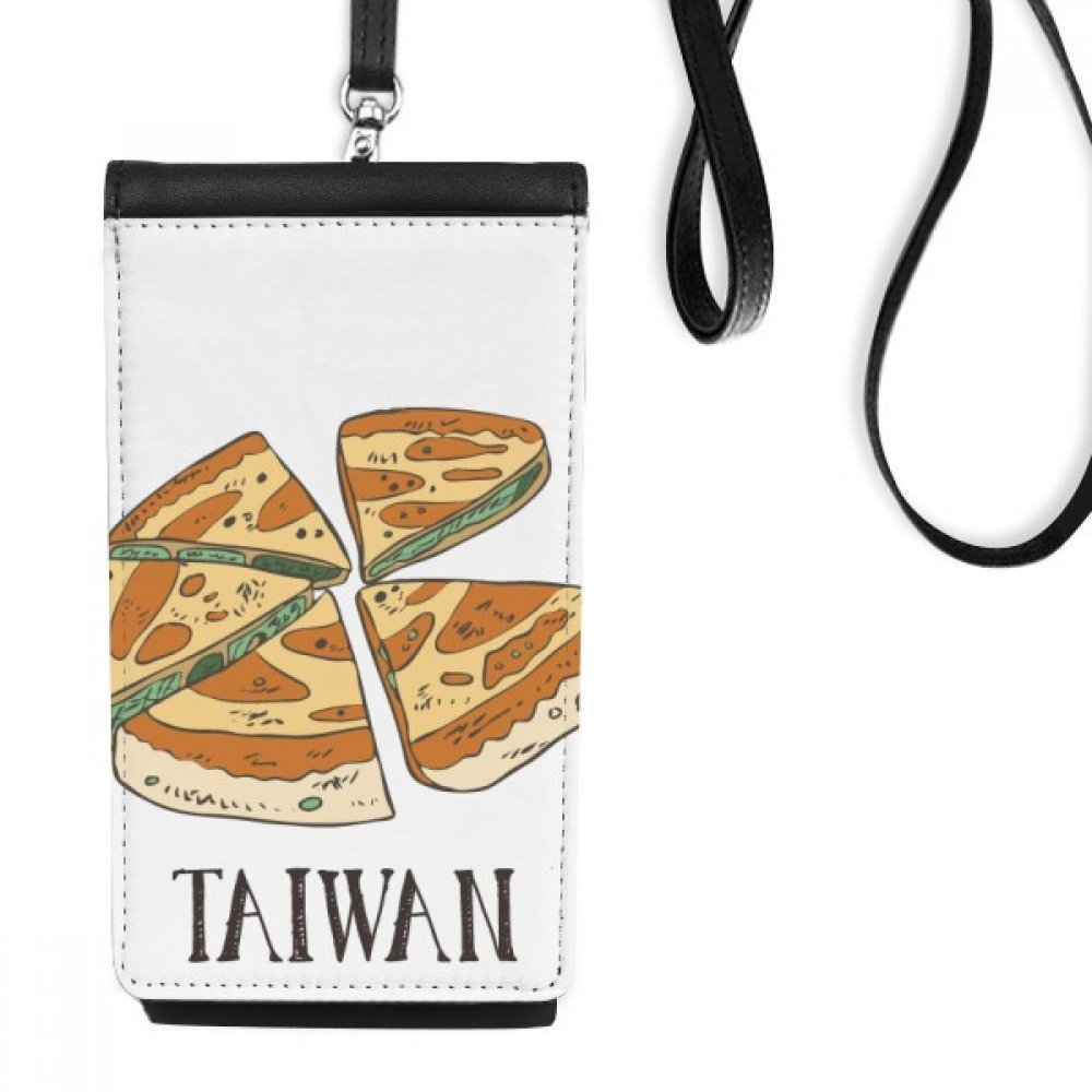 Food Pizza Taiwan Travel Faux Leather Smartphone Hanging Purse Black Phone Wallet Gift