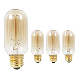Juneslife Filament Light Bulb T45 40W Decorative Edison Incandescent  Vintage Tungsten Light E26 E27 For Wall