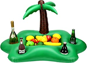 Inflatable Coconut Tree Drink Holder Green Portable Floating Beverage Salad Fruit Serving Bar Pool Float Party Accessories Summer Beach Leisure Cup Bottle Holder Water Fun Decor Toy Boy Girl Adult