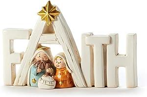 Giftcraft 661442 Christmas Holy Family Faith Table Décor, 4.5-inch Length, Poly Resin
