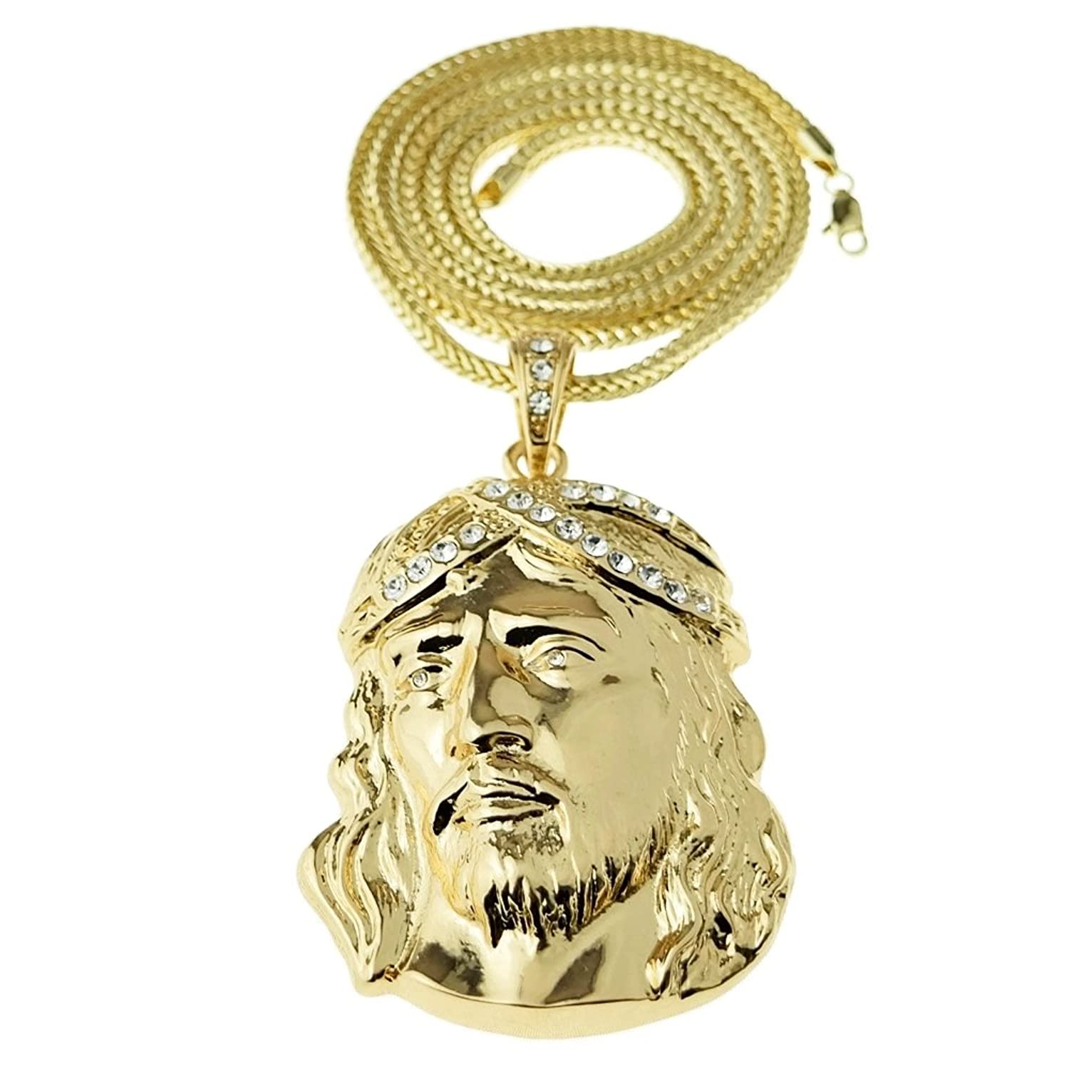 """Jesus Head Chain Iced-Out Huge Hip Hop Pendant Gold Finish 36"""" Franco Necklace"""
