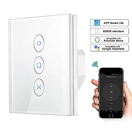 Minuterie Intelligent Moteur Mural Commutateur Rideau Stores WiFi Compatible avec Alexa Google Home pour Commande Vocale LoraTap 2x Interrupteur Volet Roulant Connect/é