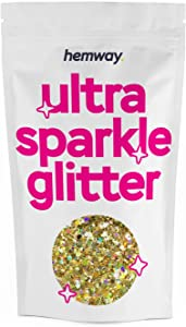 Hemway Gold Holographic Mix Glitter Chunky Multi Purpose Dust Powder Arts & Crafts Wine Glass Decoration Weddings Flowers Cosmetic Face Eye Body Nails Skin Hair Festival 1kg