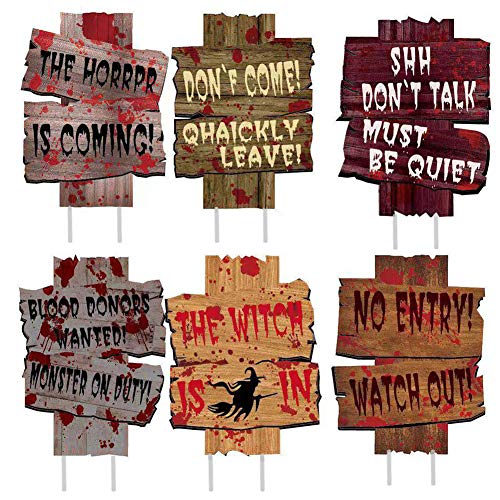 Lakuku Halloween Decorations Outdoor,6PCS Halloween Decor Yard Signs with Stake Beware Props Scary Zombie Vampire Graves Holiday Party Supplies (9×12 inches)