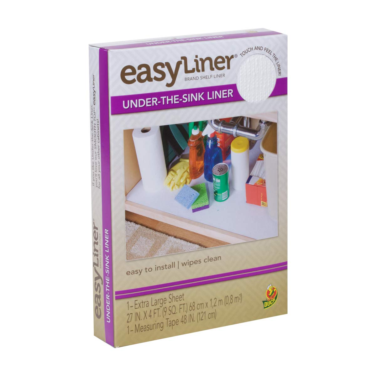 Duck Easy Liner Under-the-Sink Liner, Non-Adhesive, White, 27 Inches x 4 Feet (280741)