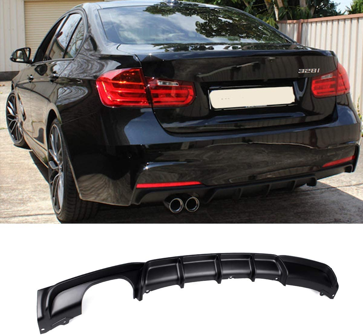 FRP M Style Rear Bumper Diffuser Lip Single Muffler Dual Out for BMW 3 Series F30 320i 325i 328i 335i M Sport Gloss Black Fandixin F30 Diffuser