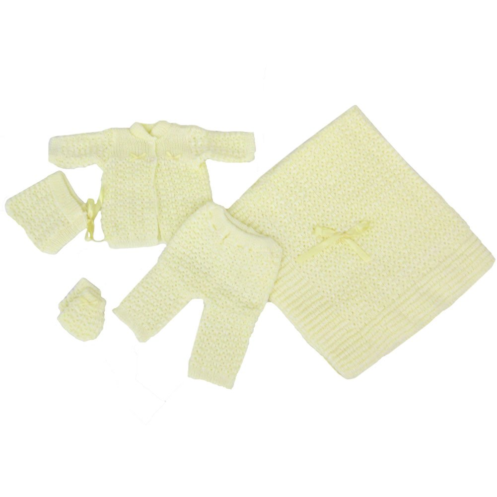 Baby Boy Girl Yellow Pants Hat Booties Sweater Blanket Newborn Set