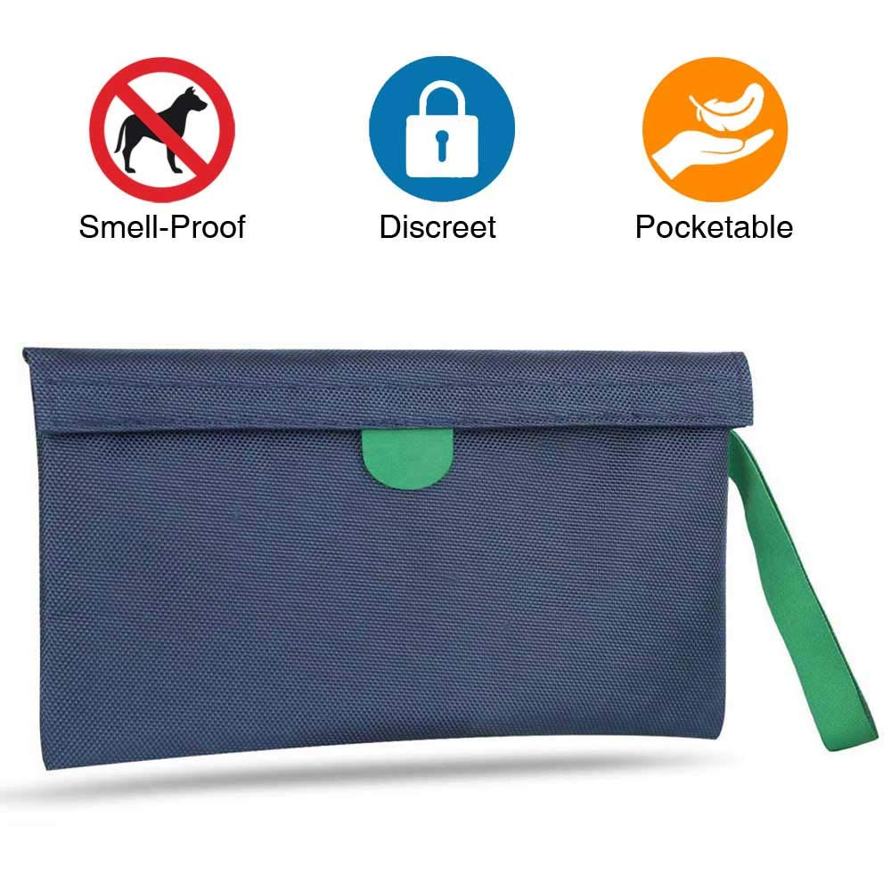 MEIZHI Smell Proof Bag - Discreet Odor Proof Pouch for Weeds Herbs Spices Tea, Odor Lock Absorbing Dog Tested Container (Blue 11''x 6'')